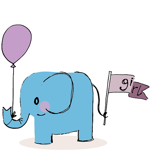 New Baby Girl card - with a cute elephant holding a pale pink flag and pale pink