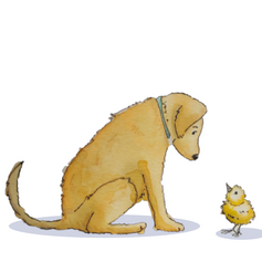 Hello Friend (lab and chick) 107