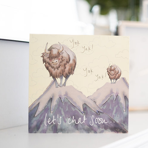 """Yak Yak """"Let's chat soon!"""" Greeting card and envelope"""