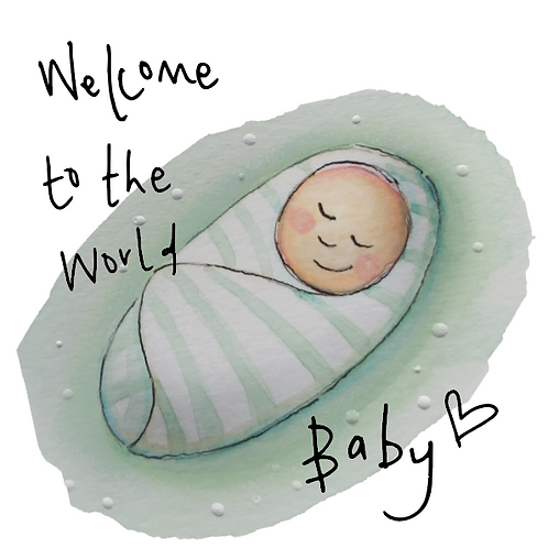 New Baby  - baby in a green swaddle
