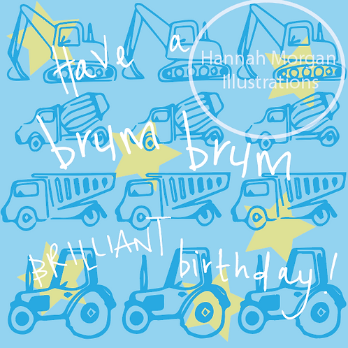 Brum Brum Birthday - digger and tractor birthday card