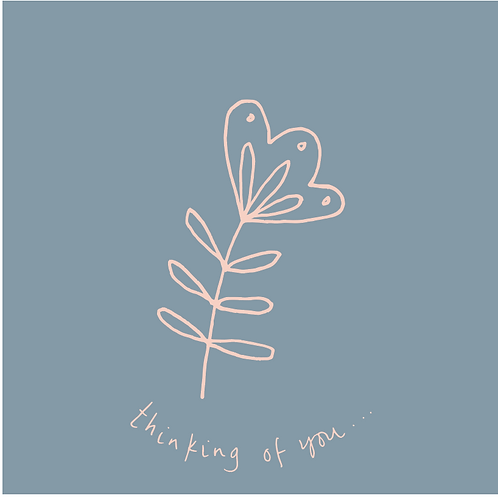 thinking of you - peach flower on grey background