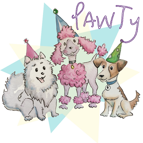 Just Pawty - three dogs in party hats