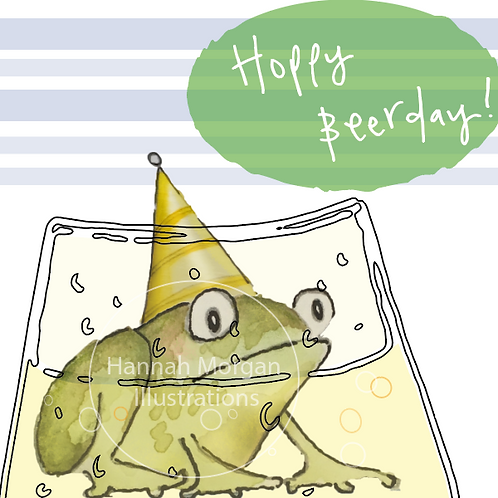 Hoppy Beerday - a birthday frog sitting in your craft beer!