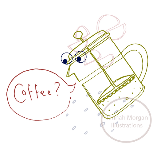 A Jittery coffee pot inviting you for a brew - Greeting card and envelope