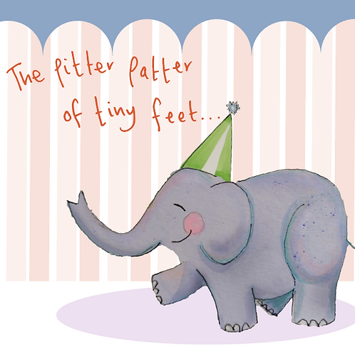 Pitter Patter of Tiny feet - blue and orange - a joyful elephant trumpeting your