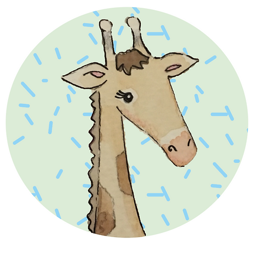 Giraffe on pale green with sprinkles