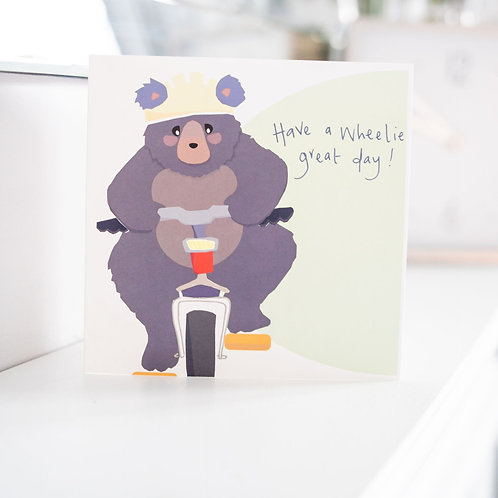 Wheelie Great Bday - Bear on a bicycle wishing you a happy birthday