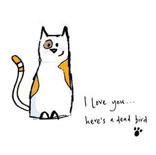 Cat Sketch - dead bird 037