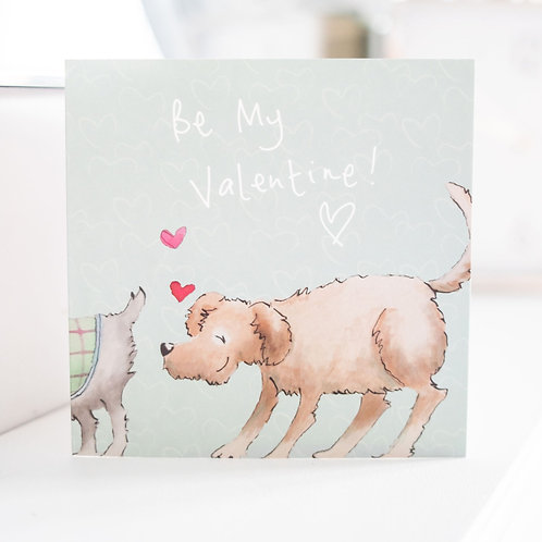 Valentine's Day Doggies Greeting card and envelope