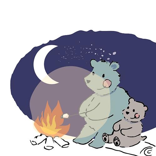 Bear Campfire greetings card