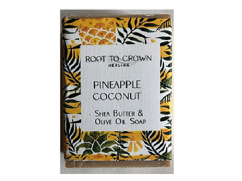 Root to Crown Healing Pineapple Coconut  Shea Butter Olive Oil Bar of Soap