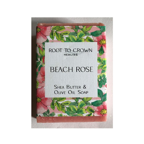 Root to Crown Healing Beach Rose Shea Butter Olive Oil Bar of Soap