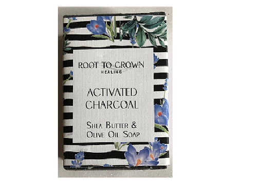 Root to Crown Healing Activated Charcoal Shea Butter Olive Oil Bar of Soap