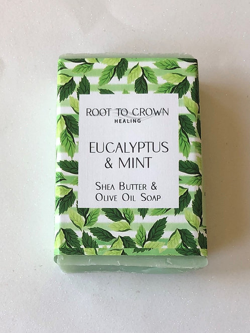 Root to Crown Healing Eucalyptus Mint with Shea Butter Olive Oil Bar of Soap