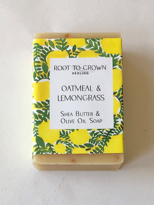 Root to Crown Healing Oatmeal  Lemongrass with Shea Butter Olive Oil Bar of Soap