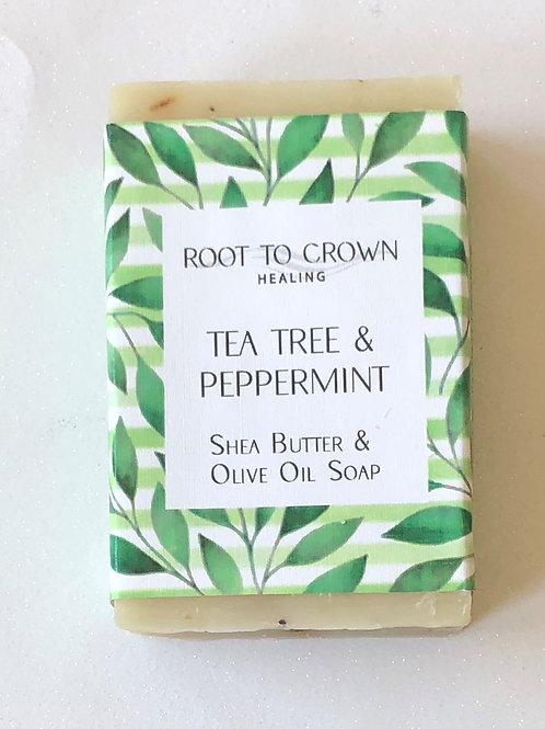 Root to Crown Healing Tea Tree & Peppermint Shea Butter Olive Oil Bar of Soap