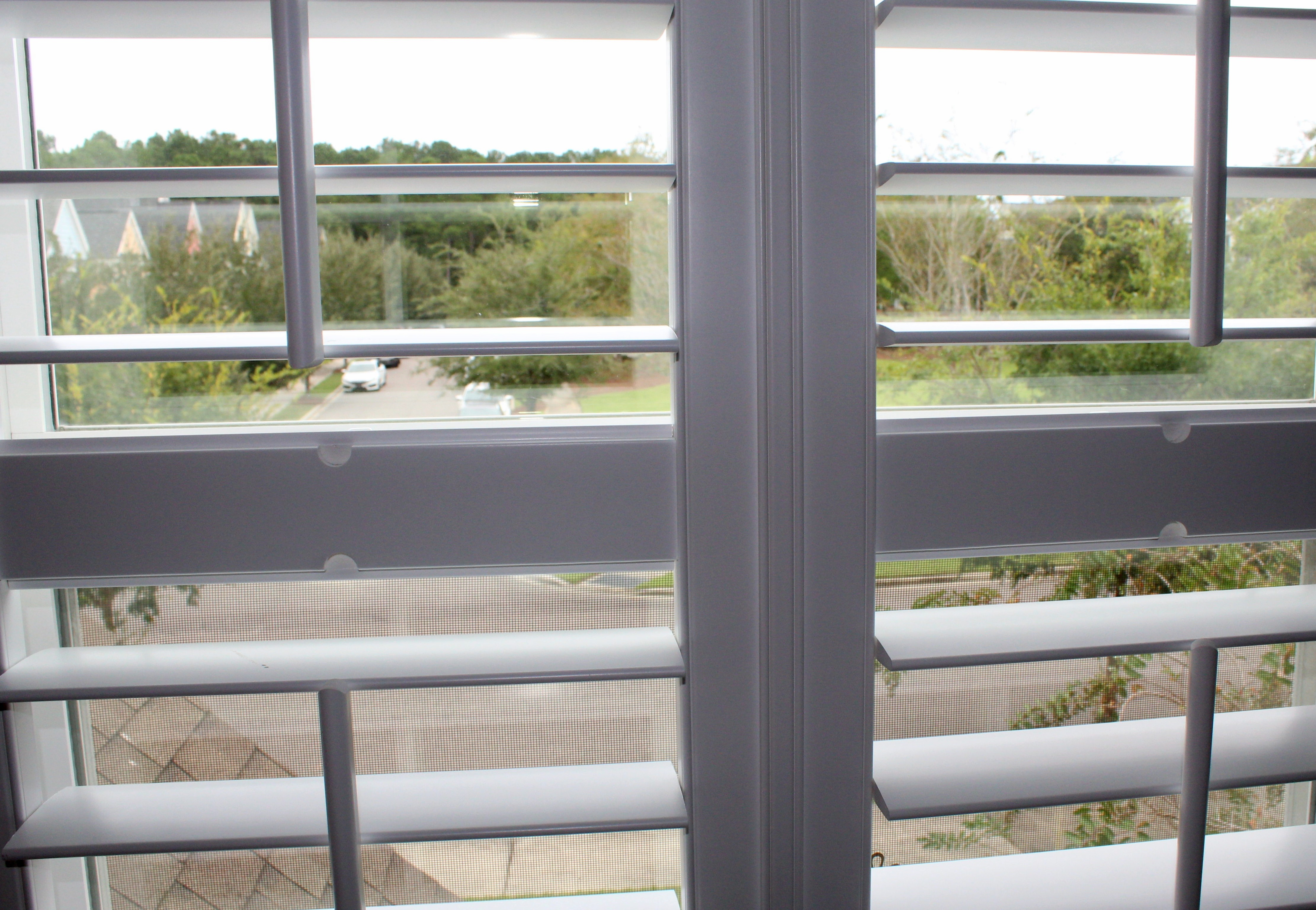double open plantation shutters with str