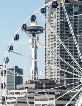 Seattle Great Wheel & Space Needle