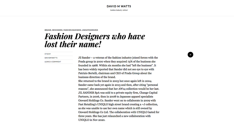 David M Watts' Fashion Blog