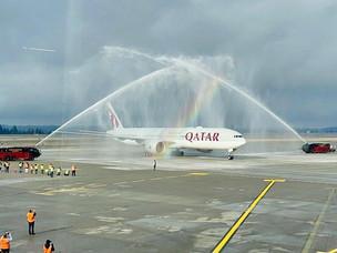 Qatar Airways Inaugural Flight Touches Down in Seattle