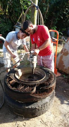 Bryton Awe and Jonathan Manzanero Working on bringing the rims back to life.