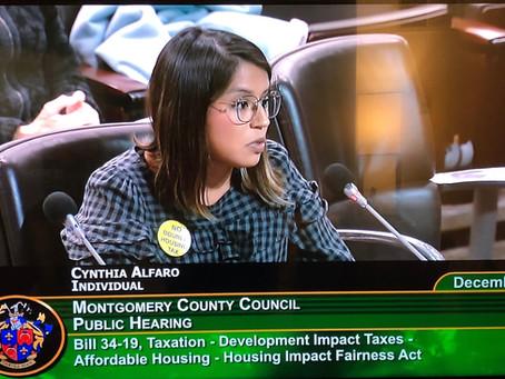Chesapeake's Cynthia Alfaro testifies before Montgomery County Council