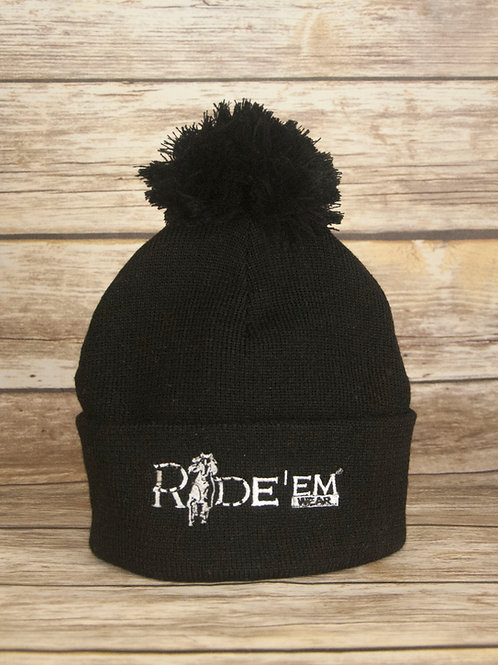Black Beanie with Pom