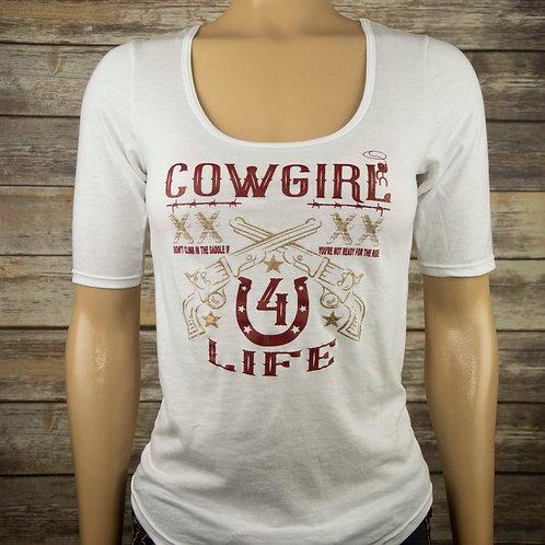 Cowgirl 4 Life Tri-Blend Deep Scoop 1/2 Sleeve Tee