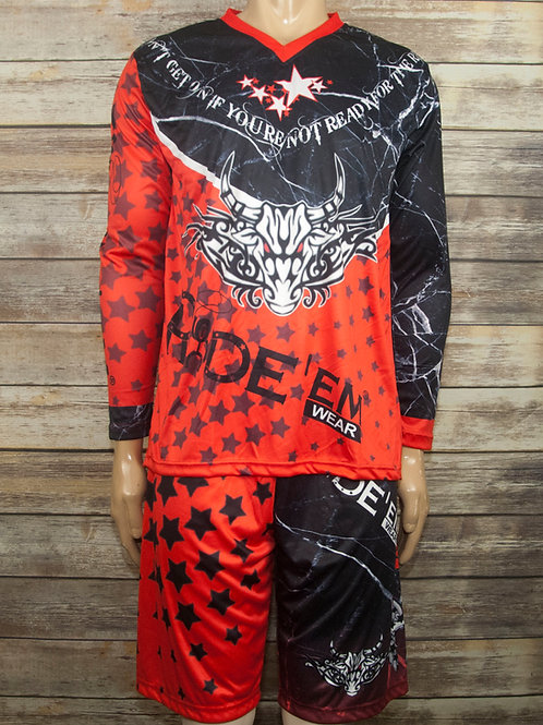 Red Fight'em Bull Fighters Jersey & Short Set
