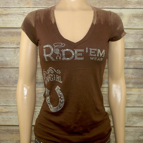 Cowgirl Mineral Wash V-Neck T-Shirt