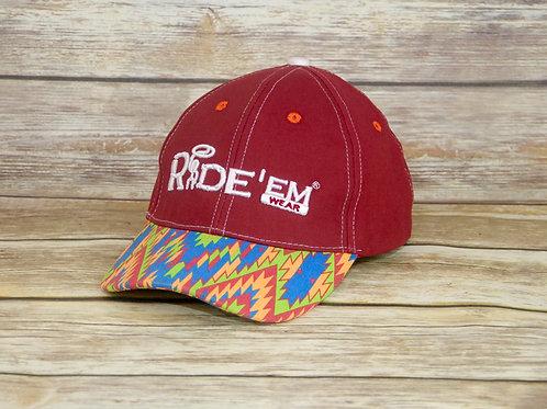 Maroon Blue Ride'em Wear Tribal Velcro Cap