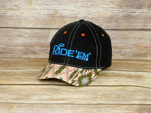 Black Ride'em Wear Tribal Velcro Cap