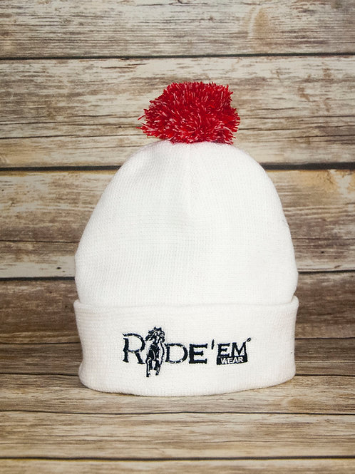 White Beanie with Red Pom