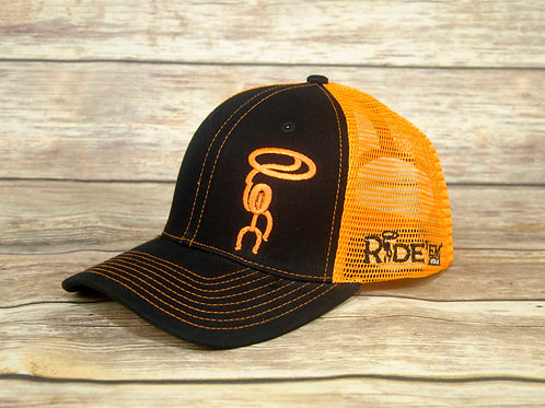 Ride'em Black/Orange Mesh Snapback Cap