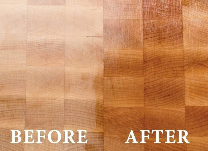 before and after photo of oiled cutting board