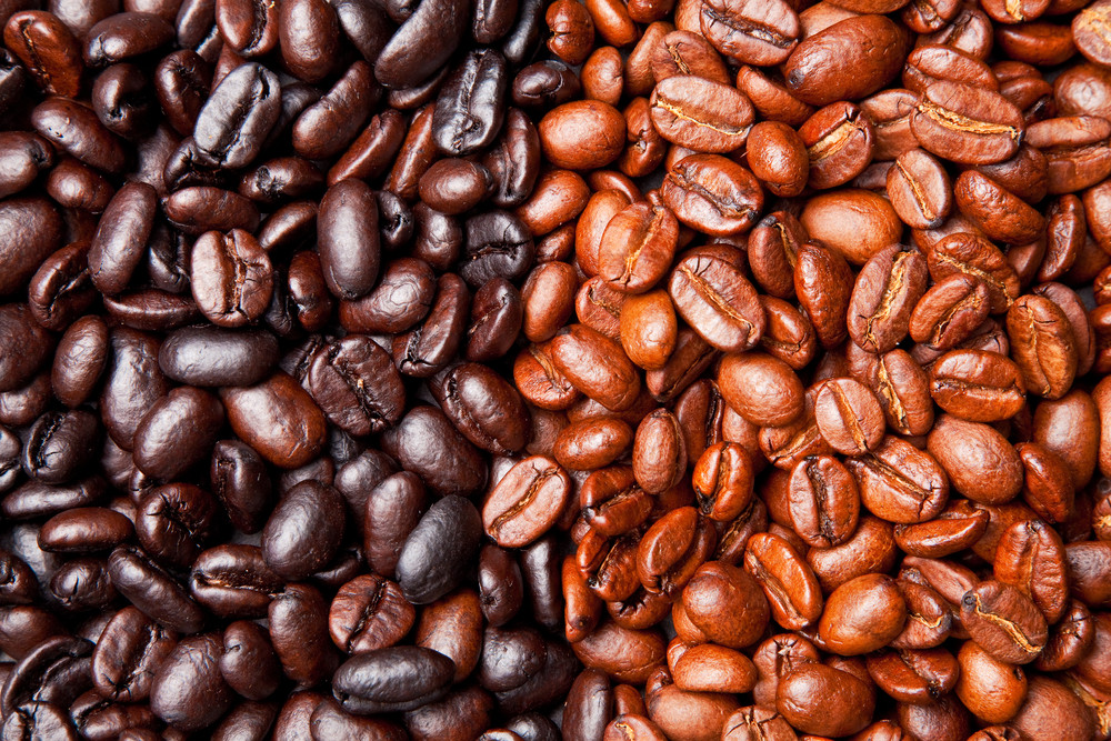 light and dark roasted coffee beans side by side
