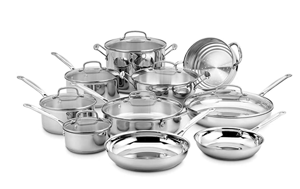 Stainless Cookware Cuisinart 17pc, cookware, stainless