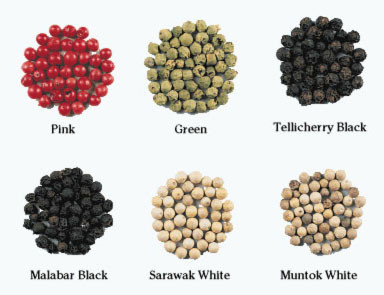 pink green telichery malabar sarawak and muntok peppercorns