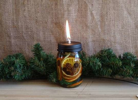 simply take a mason jar, filled with aromatics & oil that will burn.
