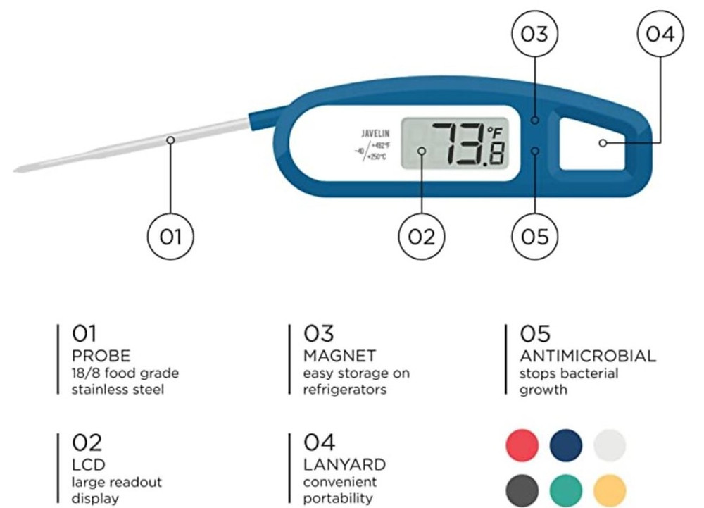 blue instant read thermometer, javelin