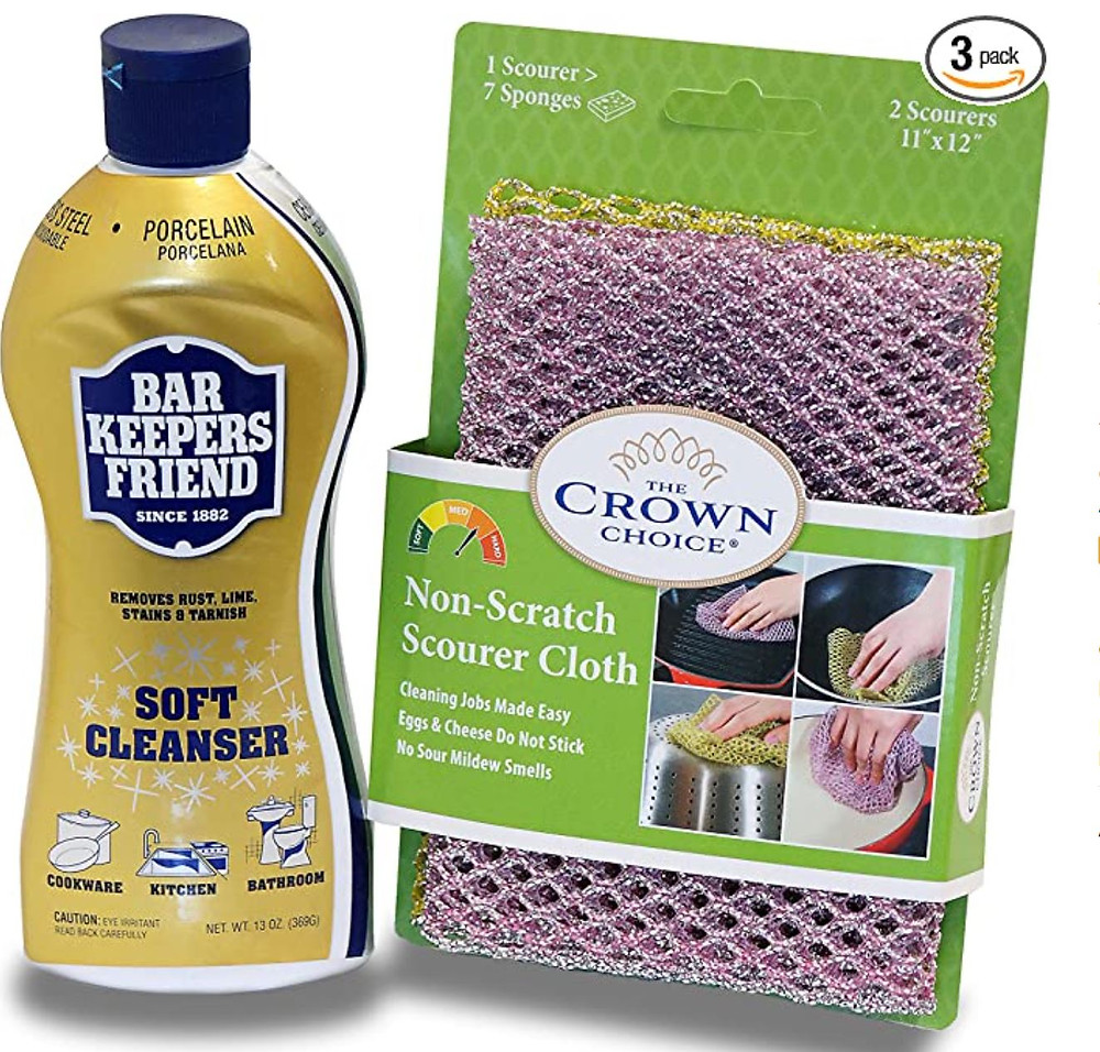 Cleanser with scrubby pads, barkeepers friend