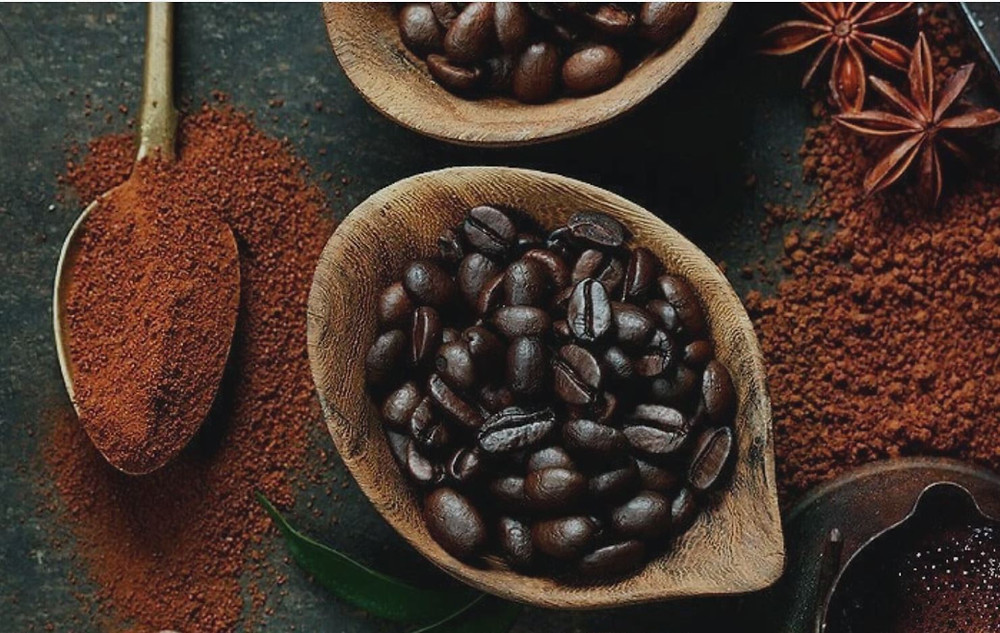 Coffee beans, and ground