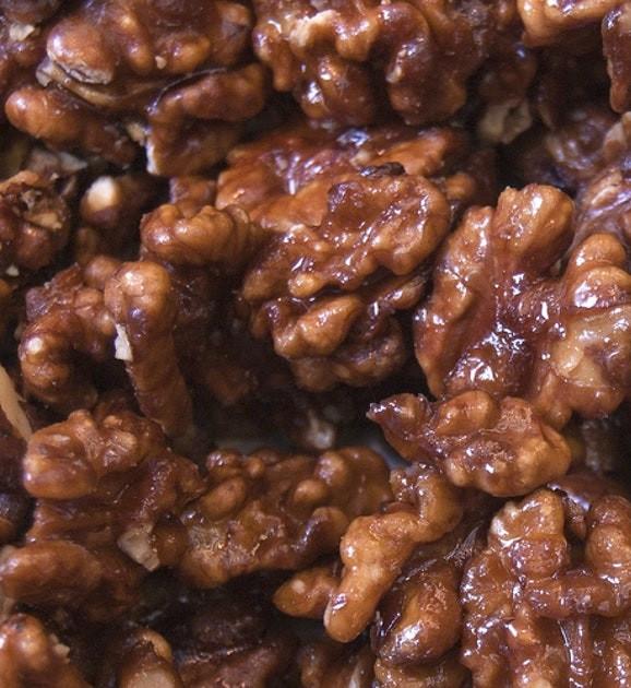 walnuts boiled in sugar syrup