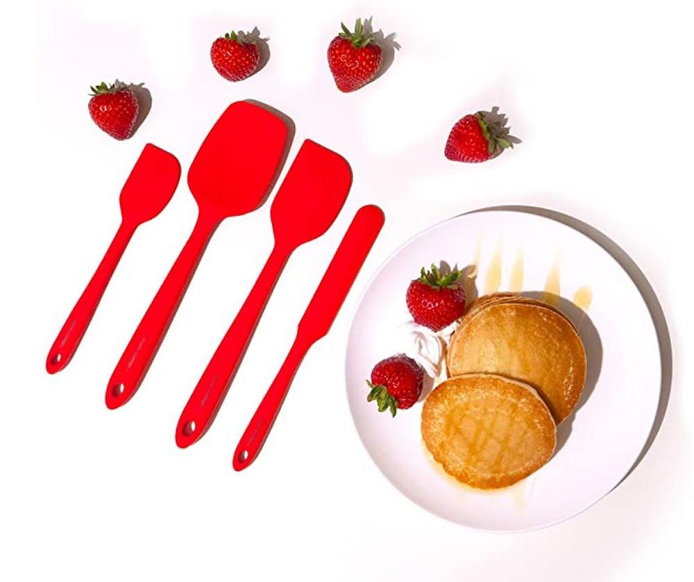 silicone spatulas, red