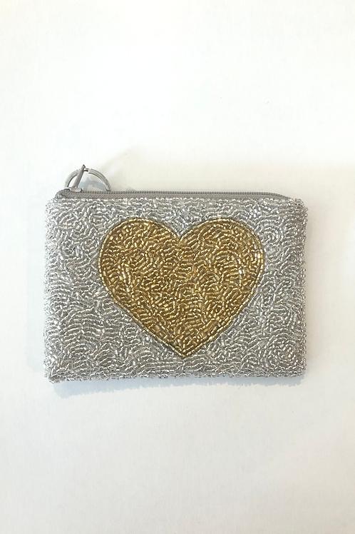Gold Heart Beaded Coin Purse