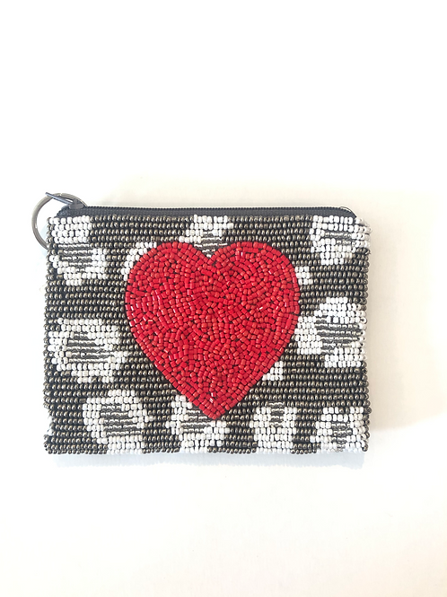 Red Heart Beaded Coin Purse