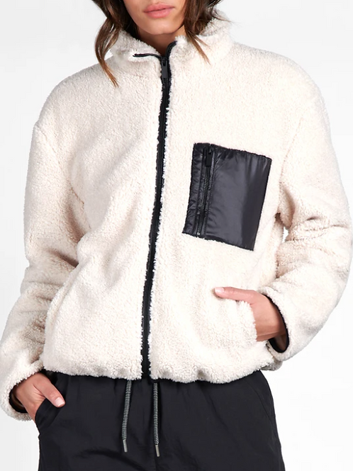 Sherpa Zip Up Jacket Light Latte