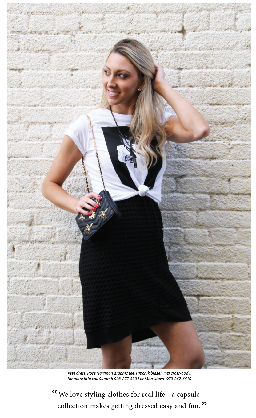 Style a Graphic Tee over a Little Black Dress