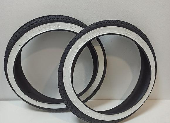 Juego de neumáticos 2 1/4-16 banda blanca marca mitas